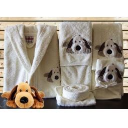 Купить Детский набор с вышивкой до 12 месяцев ( халат + банный набор) HLT037-1 Turkiz