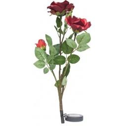 """Купить Светильник садово-парковый на солнечной батарее """"Ветка розы"""", красный, 3 LED (белый), H 80cм , PL308"""