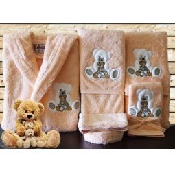 Купить Детский набор с вышивкой до 12 месяцев ( халат + банный набор) HLT037-3 Turkiz