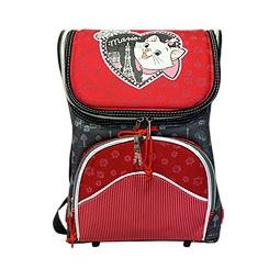 Купить Рюкзак для девочки серо-красный с кошечкой