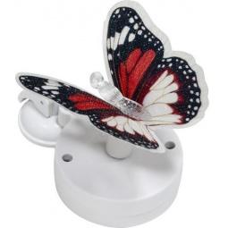 """Купить Светильник садово-парковый на присоске на солнечной батарее """"Бабочка"""" красно-белыйй, 1 RGB LED, 46*30*42мм, PL264"""