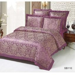 фото Постельное белье Жаккард 1,5 спальное с кружевом SB110-1 Kingsilk