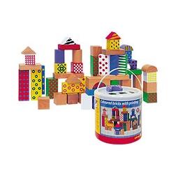 Купить Кубики деревянные, 50 шт. (в ведерке)