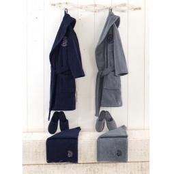 Купить Банный комплект халат + полотенце + тапочки 7-9 лет синий HLT3130-1 Virginia Secret
