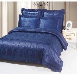 фото Постельное белье Жаккард 2,0 спальное SB113-2 синий Kingsilk