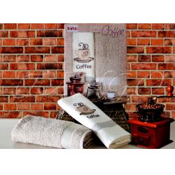 фото Набор кухонных полотенец из 2х штук с вышивкой Кофе 50*70 см plt126-2 Turkiz