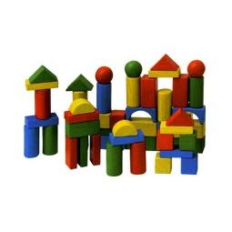 Купить Кубики деревянные, 60 штук (в ведерке)