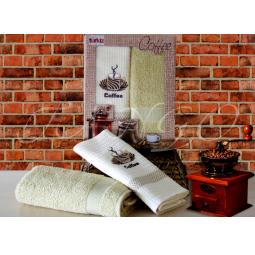 фото Набор кухонных полотенец из 2х штук с вышивкой Кофе 50*70 см plt126-4 Turkiz