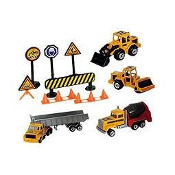 Купить Набор строительной техники с дорожными знаками