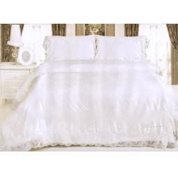 фото Постельное белье Жаккард с вышивкой и кружевом Блюмарин Евро tj600-022 Tango