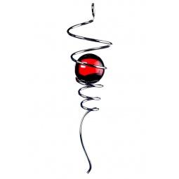 Купить Спиральный хвостик серебристый с красным шаром