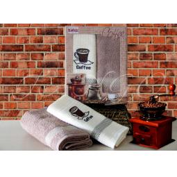 фото Набор кухонных полотенец из 2х штук с вышивкой Кофе 50*70 см plt126-3 Turkiz