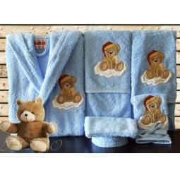 Купить Детский набор с вышивкой до 12 месяцев ( халат + банный набор) HLT037-5 Turkiz
