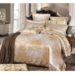 фото Постельное белье Жаккард с вышивкой двуспальный 220-120-2 Valtery