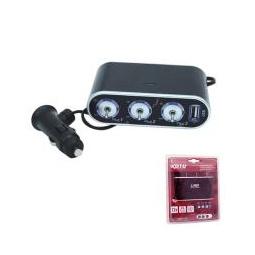 Купить Разветвитель прикуривателя на 3 гнезда  c USB