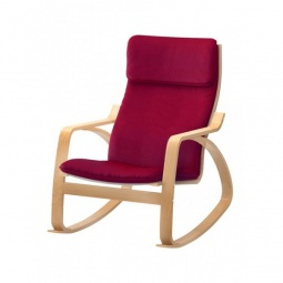 Купить Кресло-качалка 'Петроторг' деревянное 1814K дуб светлый/бордовый
