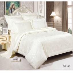 фото Постельное белье Жаккард 1,5 спальное с кружевом SB106-1 Kingsilk