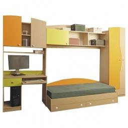 Купить Гарнитур для детской 'Олимп-мебель' Тони-2 дуб линдберг/зеленое яблоко/оранжевый