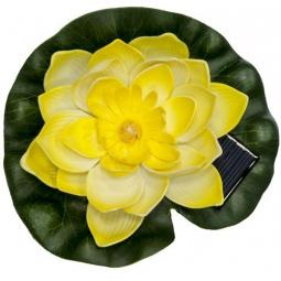 """Купить Светильник садово-парковый на воду на солнечной батарее """"Кувшинка"""" желтый, 1 RGB LED, 170*170*60мм, PL263"""
