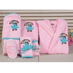 Купить Детский набор с вышивкой до 12 месяцев ( халат + банный набор) HLT036-6 Turkiz