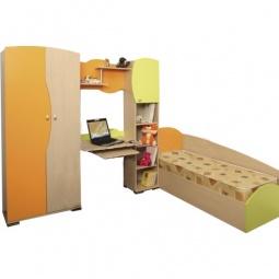 Купить Гарнитур для детской 'Олимп-мебель' Тони-1 дуб линдберг/зеленое яблоко/оранжевый