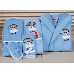 Купить Детский набор с вышивкой до 12 месяцев ( халат + банный набор) HLT036-5 Turkiz