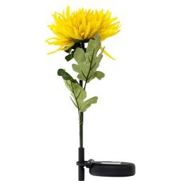 """Купить Светильник садово-парковый на солнечной батарее """"Хризантема"""" желтый, 1 LED белый, PL305"""