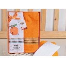 фото Набор полотенец в коробке из 2 шт 50*70 см с вышивкой Апельсин plt047-1 Turkiz