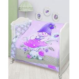 Купить Постельное белье для новорожденных Бязь Зайка Ми сереневый 45610 Мона Лиза