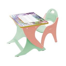 Купить Регулируемая парта и стульчик ЗИМА-ЛЕТО, салатовый/персик