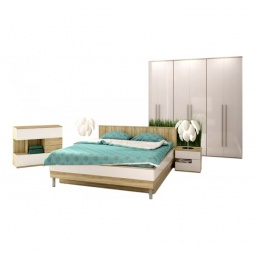 Купить Гарнитур для спальни 'Столлайн' Ирма 10 дуб сонома/белый глянец