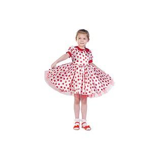 Купить Платье белое в красный горох, рост 116