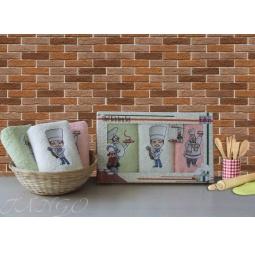 фото Набор кухонных полотенец из 3х штук с вышивкой 30*50 см plt084-35 Turkiz