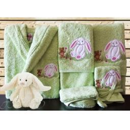 Купить Детский набор с вышивкой до 12 месяцев ( халат + банный набор) HLT037-2 Turkiz