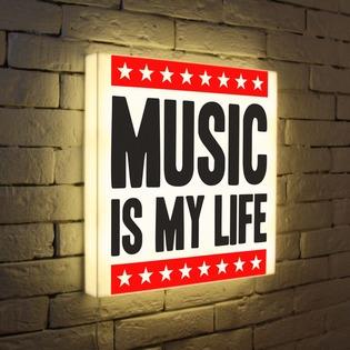 """Купить Лайтбокс """"Music is my life"""" 45x45-072 FotonioBox"""