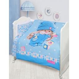 Купить Постельное белье для новорожденных Бязь Зайка Ми голубой 45611 Мона Лиза