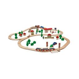 Купить Железная дорога деревянная с мостом и 2 поездами