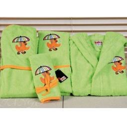 Купить Детский набор с вышивкой до 12 месяцев ( халат + банный набор) HLT036-2 Turkiz