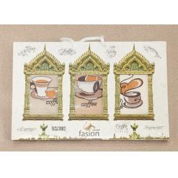 фото Набор полотенец для кухни вафельные с вышивкой кофе PLT090-13 Tango