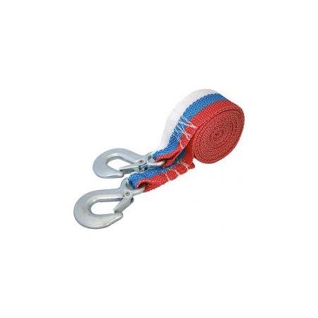 Купить Трос буксировочный ленточный с крюками 5 т, длина 4,5 м, в пакете (триколор)