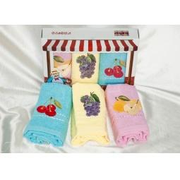 фото Набор кухонных полотенец из 3х штук с вышивкой Фрукты 30*50 см plt084-24 Turkiz