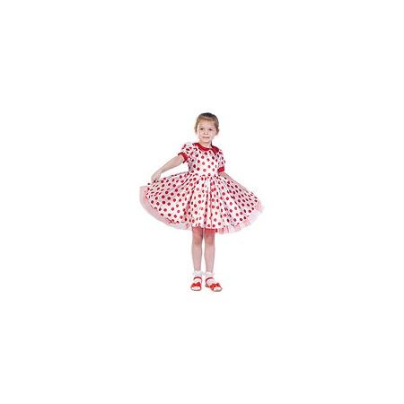 Купить Платье белое в красный горох, рост 128