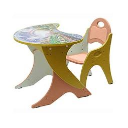 Купить Набор детской мебели Капелька на регулируемом основании КОСМОШКОЛА персиковый/желтый
