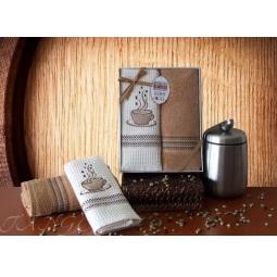 фото Набор кухонных полотенец из 2х штук с вышивкой Кофе 50*70 см plt126-6 Turkiz