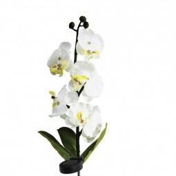 """Купить Светильник на солнечной батарее """"Орхидея белая с желтым"""", 5 LED белый, 70см , PL301"""