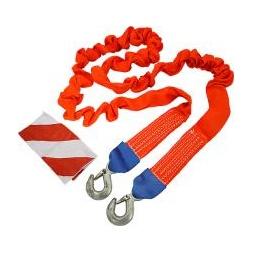 Купить Трос буксировочный эластичный усиленный с крюками 3,5 т, длина 4м,с флажками в сумке(ярко-красн.)