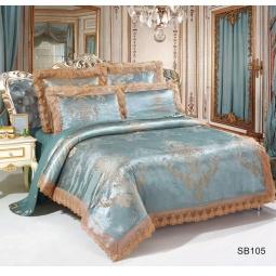 фото Постельное белье Жаккард 1,5 спальное с кружевом SB105-1 Kingsilk