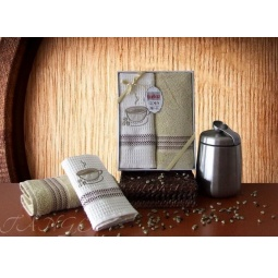 фото Набор кухонных полотенец из 2х штук с вышивкой Кофе 50*70 см plt126-9 Turkiz