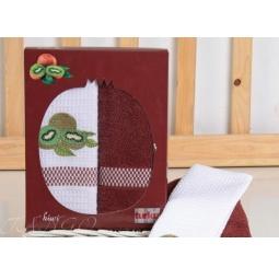 фото Набор полотенец в коробке из 2 шт 50*70 см с вышивкой Киви plt047-7 Turkiz