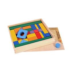 Купить Конструктор деревянный ПОСТРОЙ СВОЙ ГОРОД окрашенный полностью 51 деталь, в ящике